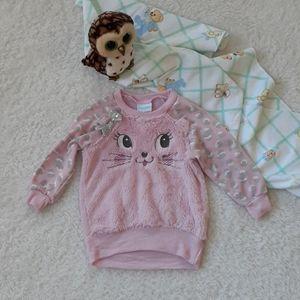 Nanette Baby Girls Pink Fuzzy Kitten Sweatshirt Size 24M